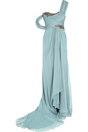 One-shoulder embellished silk-georgette gown