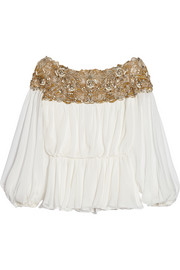 Marchesa Embellished silk-chiffon top