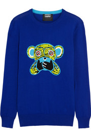 Speak No Evil Monkey sequined cotton sweater
