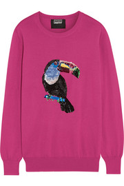 Toucan sequined cotton sweater