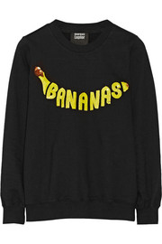 Bananas sequined cotton-terry sweatshirt