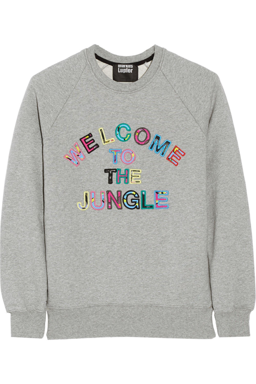 Markus Lupfer Welcome to the Jungle Sweatshirt aus Baumwollfrottee