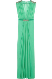 Embellished silk-georgette gown