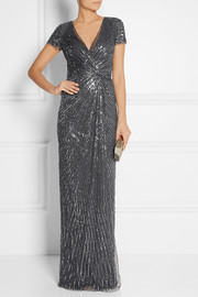 Jenny Packham Embellished wrap-effect tulle gown