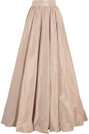 Pleated silk-taffeta maxi skirt