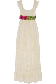 Embroidered cotton-voile gown