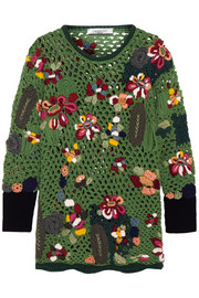 Valentino Embroidered crocheted wool sweater