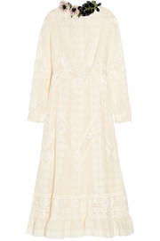 Lace-paneled cotton-voile dress