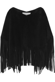 Fringed suede poncho