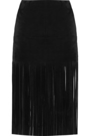 Fringed suede mini skirt