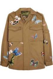 Butterfly-appliquéd cotton-twill jacket