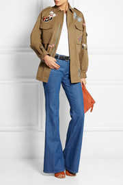 Valentino Butterfly-appliquéd cotton-twill jacket
