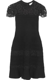 Lace-paneled stretch-knit dress