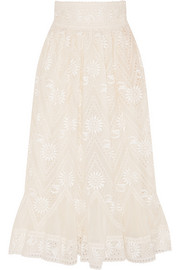 Embroidered cotton-voile skirt