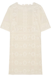 Valentino Embroidered cotton-voile mini dress