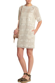 Embroidered cotton-voile mini dress