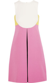 Color-block wool and silk-blend crepe mini dress
