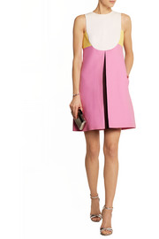 Valentino Color-block wool and silk-blend crepe mini dress