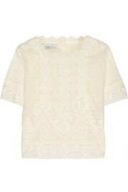 Broderie anglaise cotton-voile top