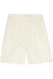 Cotton-blend lace shorts