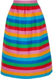 Striped cotton and silk-blend canvas skirt