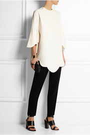Valentino Scalloped wool and silk-blend crepe tunic
