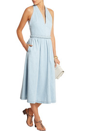 Braid-trimmed denim midi dress