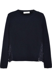 Valentino Macramé lace-paneled cotton sweater
