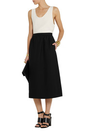 Valentino Wool and silk-blend crepe midi skirt