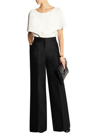 Valentino Wool and silk-blend wide-leg pants