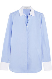 Piqué-trimmed cotton-chambray shirt