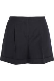 Wool and silk-blend crepe shorts