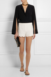Valentino Scalloped wool and silk-blend crepe shorts