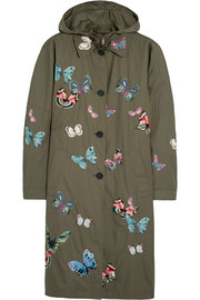 Butterfly-appliquéd cotton parka