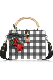 Dolce Box gingham textured-leather shoulder bag