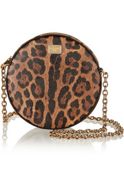 Glam leopard-print faux leather shoulder bag