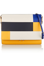 File color-block leather clutch
