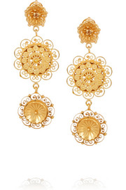 Filigree gold-plated Swarovski crystal clip earrings