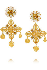 Dolce & Gabbana Gold-plated crystal clip earrings
