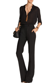 Wool and silk-blend flared pants