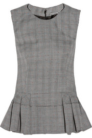 Alexander McQueen Prince of Wales check wool-blend peplum top