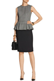 Prince of Wales check wool-blend peplum top