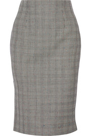 Prince of Wales check wool-blend pencil skirt