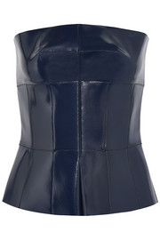 Coated leather peplum top