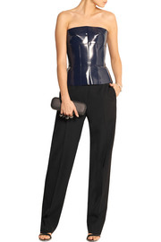 Alexander McQueen Coated leather peplum top