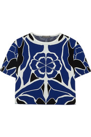 Alexander McQueen Cropped floral stretch-jacquard top