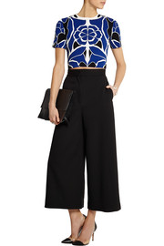 Cropped floral stretch-jacquard top