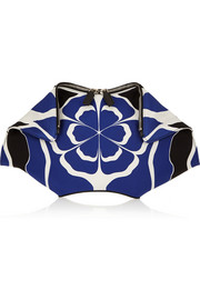 The De Manta printed silk-satin clutch