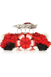 Alexander McQueen Salamander Knuckle embroidered box clutch