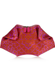 The De Manta leopard-print silk-satin clutch